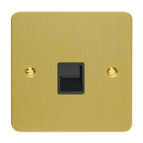 Varilight XFBTSB Ultraflat Brushed Brass 1 Gang Telephone Slave (Extension) Socket